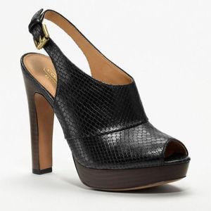 Coach Brina Black Leather Peep Toe Platform 7.5